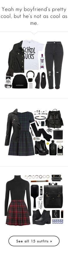 """""""Yeah my boyfriend's pretty cool, but he's not as cool as me."""" by your-fair-lady on Polyvore featuring white, black, grunge, grey, Topshop, American Apparel, Vans, Marshall, McQ by Alexander McQueen and River Island"""