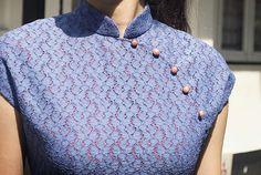 Blue Lace | Ong Shunmugam Kurtis Indian, Indian Fashion, Chinese Fashion, Chinese Collar, Cheongsam, Mandarin Collar, Chinese Style, Blue Lace, Indian Wear