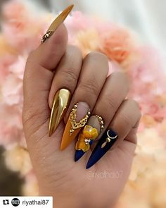 Popular Acrylic Stiletto Nails Designs That Will Catch Your .- Popular Acrylic Stiletto Nails Designs That Will Catch Your Mind – Septor Planet - Dope Nails, Glam Nails, 3d Nails, Bling Nails, Stiletto Nails, Coffin Nails, 3d Nail Art, Nail Nail, Fabulous Nails