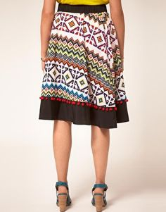 ASOS CURVE Exclusive Skirt In Aztec Print With Pom Poms