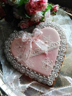 Beautiful hearts, gingerbread, Christmas cookies, hand piped lace