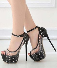 4a4d4c406b98 Black Clear Studded Peep Toe Platform Stiletto High Heel Pumps