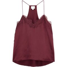 CAMI NYC Racer Bordeaux Silk Charmeuse Tank ($250) ❤ liked on Polyvore featuring tops, tanks, spaghetti-strap tops, racerback top, lace trim top, racer back tank and spaghetti strap racerback tank