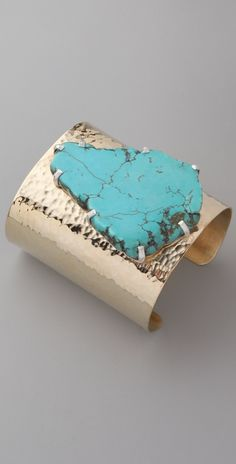 """Jody Candrian Jewelry Hammered Brass Cuff with Pronged Turquoise Stone. Artist states """"This piece is made with a natural stone. Turquoise Cuff, Turquoise Stone, Turquoise Jewelry, Turquoise Bracelet, Silver Jewelry, Turquoise Accessories, Jewelry Accessories, Fashion Accessories, Jewelry Design"""
