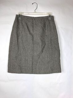 Clever Ann Taylor Womens Skirt Pencil Straight Cotton Tweed Lined Dark Blue Size 0 Women's Clothing