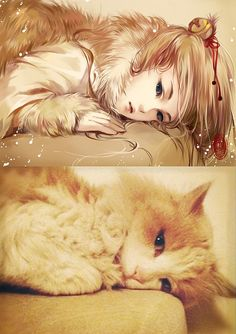 Artist xeudaixan takes pictures of adorable cats and turns them into beautiful portraits of anime girls. The series proves what I've always suspected: cats and anime girls love all the same things, like wearing cute hair accessories and posing coyly.