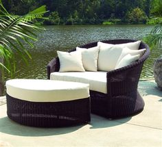 Outdoor Haven Lounge Chair and Ottoman. The Outdoor Haven Lounge and Ottoman are constructed of all-weather wicker incorporating a unique dual-tone weave that beautifully resembles natural woven aba. Wicker Lounge Chair, Chair And Ottoman Set, Nautical Furniture, Outdoor Furniture, Wicker Furniture, Industrial Furniture, Adirondack Furniture, Pool Furniture, Cottage Furniture