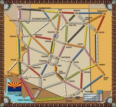 Ticket to Ride AZ fan map Role Playing Board Games, Tabletop Board Games, Modern Games, Ticket To Ride, Projects To Try, Game Boards, Maps, Sleep, Amazing