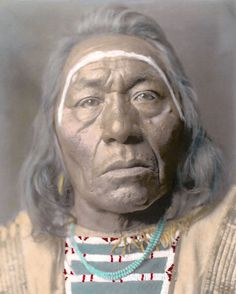 "LEADS WOLF NATIVE AMERICAN INDIAN CROW 1908 11x14"" HAND COLOR TINTED PHOTOGRAPH"