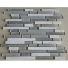 Mulia Tile Parallel Random Sized Glass Mosaic Tile in Grey/Cream | Wayfair Supply