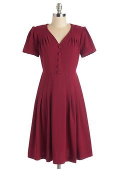 Let's Go to the Shop Dress in Cherry. Browsing the aisles of your favorite antique store, you look right at home in this red dress! #red #modcloth