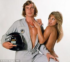 James Hunt (L) with Model Sue Shaw