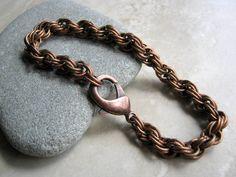 Men's Bracelet, Unisex Chain Bracelet, Mens Chain Bracelet, Antique Copper Chainmaille Bracelet, Fathers Day Gift, Copper Bracelet for Him by Arret on Etsy