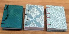 Mini Cuadernos en tono azul, cosido copta, A7