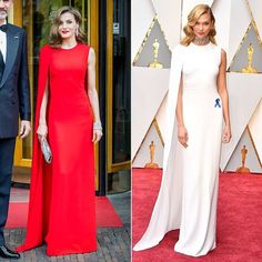 Royals and celebrities dressed alike: The best twinning style moments - Foto 1 Celebrity Dresses, Celebrity Weddings, Celebrity Style, Cape Dress, Dress Up, Estilo Real, Strapless Dress Formal, Formal Dresses, Red Gowns