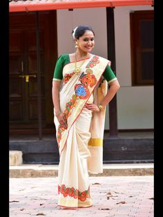 Printed design on Kerala saree