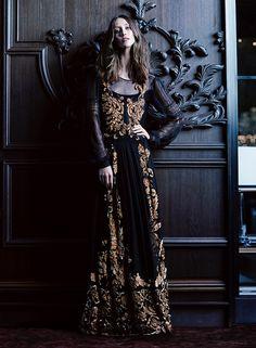 Alana Zimmer wear a baroque style lace dress on FASHION Magazine November 2015 Editorial Photoshoot