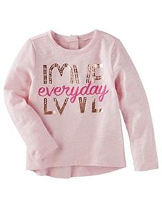 Baby Girl Love Sparkle Top from OshKosh B'gosh. Shop clothing & accessories from a trusted name in kids, toddlers, and baby clothes. New T Shirt Design, Shirt Print Design, Toddler Outfits, Kids Outfits, Polo Shirt Outfits, Kids Shirts, T Shirts For Women, Trendy Hoodies, Kids Wear