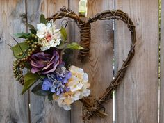 "Natural Grapevine Heart Wreath w/Hydrangeas and Roses ""With All My Heart""/Natural Grapevine Heart Wreath/Boho Wedding/Boho Style/Hippie Love - pinned by pin4etsy.com"