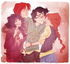 Hermione, Ron, Harry and Ginny... COUPLES!