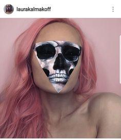 47 ideas for makeup halloween skull face paintings Skull Makeup, Sfx Makeup, Costume Makeup, Makeup Eyeshadow, Cool Halloween Makeup, Halloween Looks, Halloween Skull, Make Up Looks, Horror Make-up