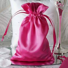 These cheerful satin favor bags are perfect for holding little goodies and favors for your guests! WHAT YOU GET:Each order is for 12 favor bags. Each favor bag measures x Due to location of pull strings fillable size is x Wedding Favor Bags, Party Favor Bags, Gift Bags, Favor Boxes, Favor Favor, Favours, Cheap Favors, Simple Weddings, Wedding Simple