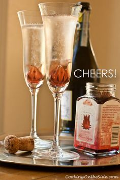 Let an edible hibiscus flower bloom at the bottom of your champagne glass -- so pretty, so festive!