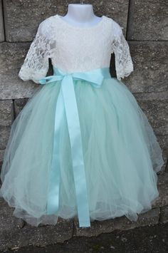 Aqua Mint Tulle Skirt, Aqua Tutu, Girls Tutu, Flower girl dress, long tulle skirt