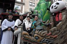 "Jinsha princess, giant panda bear and others represent the float, ""China's Chengdu – Home of the Giant Panda"" at the 2016 Macy's Thanksgiving Day Parade"