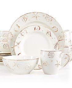 Thomson Pottery Cape Cod 16-Pc. Set, Service for 4 - Dinnerware ...