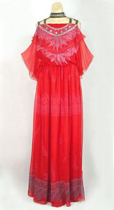 Zandra Rhodes chiffon evening dress, 1970s, from the Vintage textile archives.