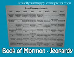 Book of Mormon Jeopardy, what a great idea for youth conference or girls camp! Mutual Activities, Young Women Activities, Church Activities, Group Activities, Sunday Activities, Church Games, Indoor Activities, Therapy Activities, Activity Day Girls