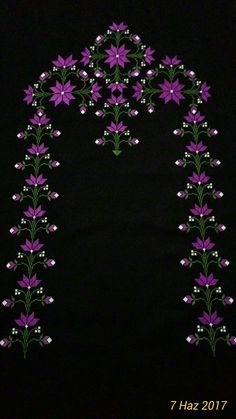 This Pin was discovered by Lal Embroidery Neck Designs, Ribbon Embroidery, Cross Stitch Embroidery, Applique Patterns, Baby Knitting Patterns, Cross Stitch Designs, Cross Stitch Patterns, Mantel Azul, Palestinian Embroidery
