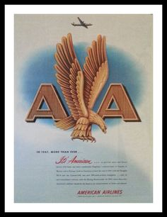 Vintage American Airlines Eagle Logo Gold.  Patriotism.  Early airlines company's logo.  Cool history.