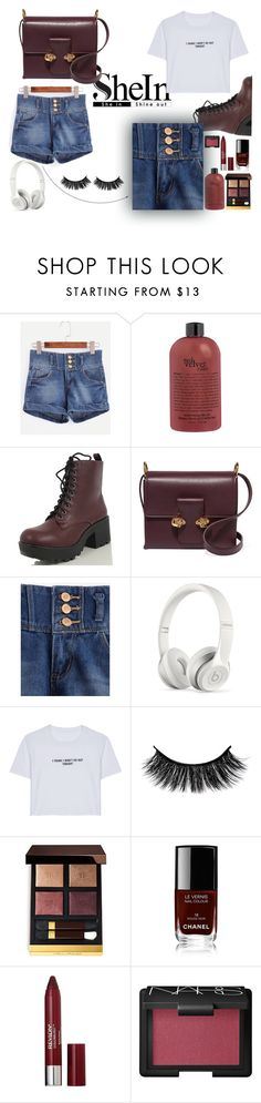 """Denim Shorts"" by chantal-07 ❤ liked on Polyvore featuring Alexander McQueen, Beats by Dr. Dre, WithChic, Tom Ford, Chanel, Revlon, NARS Cosmetics, denimshorts and shein"