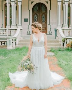 Boho wedding dress for a French chateau garden outside spring wedding. The Beau wedding dress features V-neck natural waist A-line gown with fully beaded white pearls and clear crystal sequins throughout. Popular Wedding Dresses, Garden Wedding Dresses, Wedding Dresses With Straps, Wedding Dress Sleeves, Bridal Wedding Dresses, Boho Chic Wedding Dress, Classic Wedding Dress, Wedding Dress Trends, Spring Wedding
