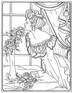 This is a re-post.  The error has been corrected.  The picture didn't line up correctly.  Creative Haven American Beauties Coloring Book, Dover Publications