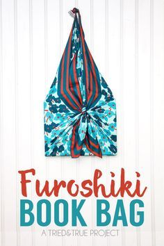 Super easy tutorial on a Furoshiki Book Bag! Use a scarf to carry and gift a book! via Tried & True for Scarf Week 2015 - A Creative Scarf Refashion / Upcycle! Furoshiki Bag, Furoshiki Wrapping, Diy Wrapping, Blog Crochet, Sewing Crafts, Sewing Projects, Japanese Wrapping, Book Wrap, Japanese Knot Bag