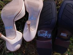 """Bundle Offer """"We Do"""" """"Lucky Us"""" Shoe Stickers & Mr. and Mrs. Wedding Chair Signs 6.5"""" x 4 """" ---best deal"""