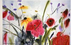 Helenium and Verbena, Catherine Ducker, x in. Verbena, Watercolor And Ink, Watercolors, England, Artists, Flowers, Plants, Water Colors, Watercolor Paintings