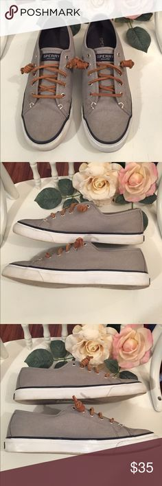 Grey & Blue Sperry Top Sider Shoes Grey & Blue Sperry Top Sider Shoes. Women's size 8. In excellent condition. Very clean and only worn a handful of times. Great for spring and summer! Sperry Top-Sider Shoes Sneakers