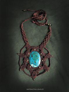 macrame necklace with azurita-chrysocolla gemstone. shamanic jewelry, earthy jewelry, macrame jewelry, pixie jewelry, bohemian jewelry