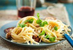 Pasta with Pancetta, Garlic, Lemon & Olives by sweetpaulmag #Pasta #Pancetta
