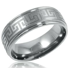 Mens Comfort Fit 8mm Greek Key Titanium Wedding Band (Choose Your Ring Size 8-12 1/2) Oxford Ivy. $12.00. Available Sizes 8-12 1/2. 8mm Greek Key Ring. Comfort Fit. Comes in a velvet pouch