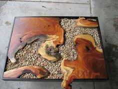 Coffee table made from beautiful wood slabs and stones