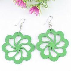 Pétales verts boucles d'oreilles en bois