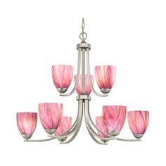 Sconce with Pink Art Glass in Satin Nickel Finish at Destination Lighting