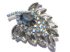 Smoky Rhinestone Brooch Blue Aurora Borealis Stones Open Back Vintage 60s (34.00 USD) by darsjewelrybox