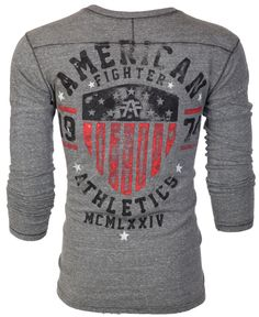 AMERICAN FIGHTER Mens T-Shirt ABRAHAM L//S HENELY Athletic Biker MMA Gym 14 $50