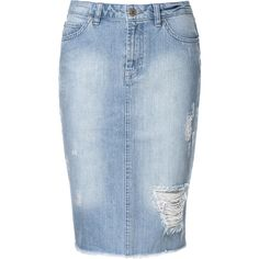 Zara Ripped Denim Pencil Skirt ($60) found on Polyvore